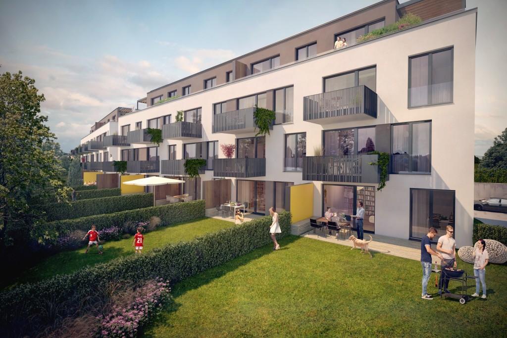V projektu zdravého bydlení Kratochvíle Stochovská je již hotová hrubá stavba. K prodeji zbývají už jen dva poslední byty.