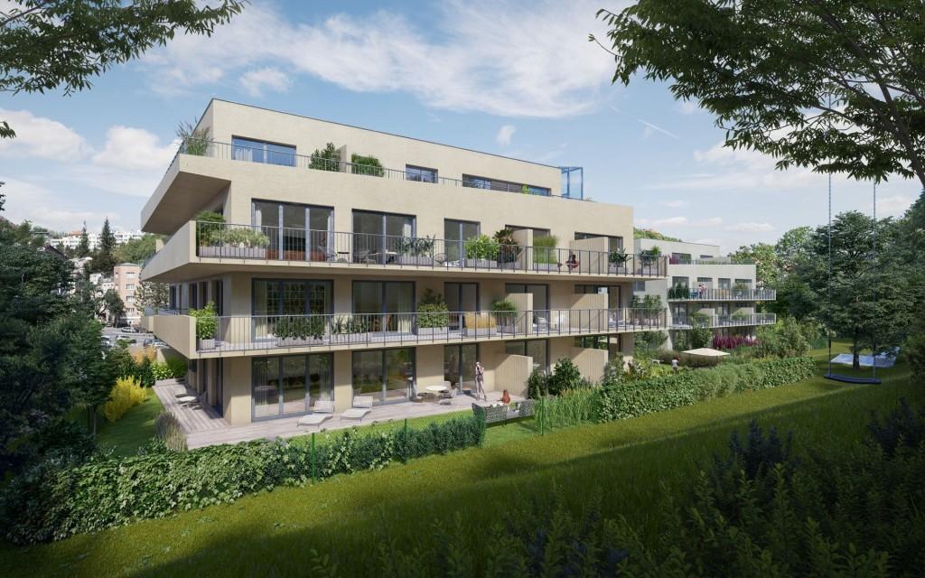 Geosan Development dokončil hrubou stavbu dvou domů v komorním projektu Rezidence Neklanka