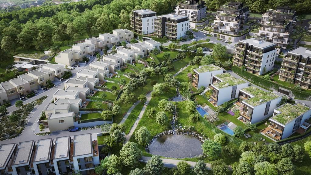 V prodeji nové byty a rodinné řadové domy 2. etapy top' rezidence Pomezí